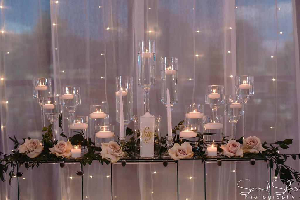 Candle and White Floral Altar Decor| Noah's Event Venue