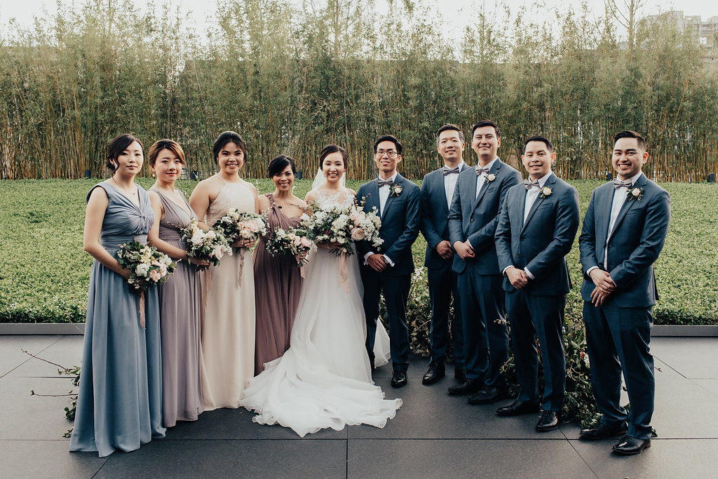 Wedding Party Photos | Mismatched Bridesmaids Dresses | Modern Wedding at Asia Society Museum