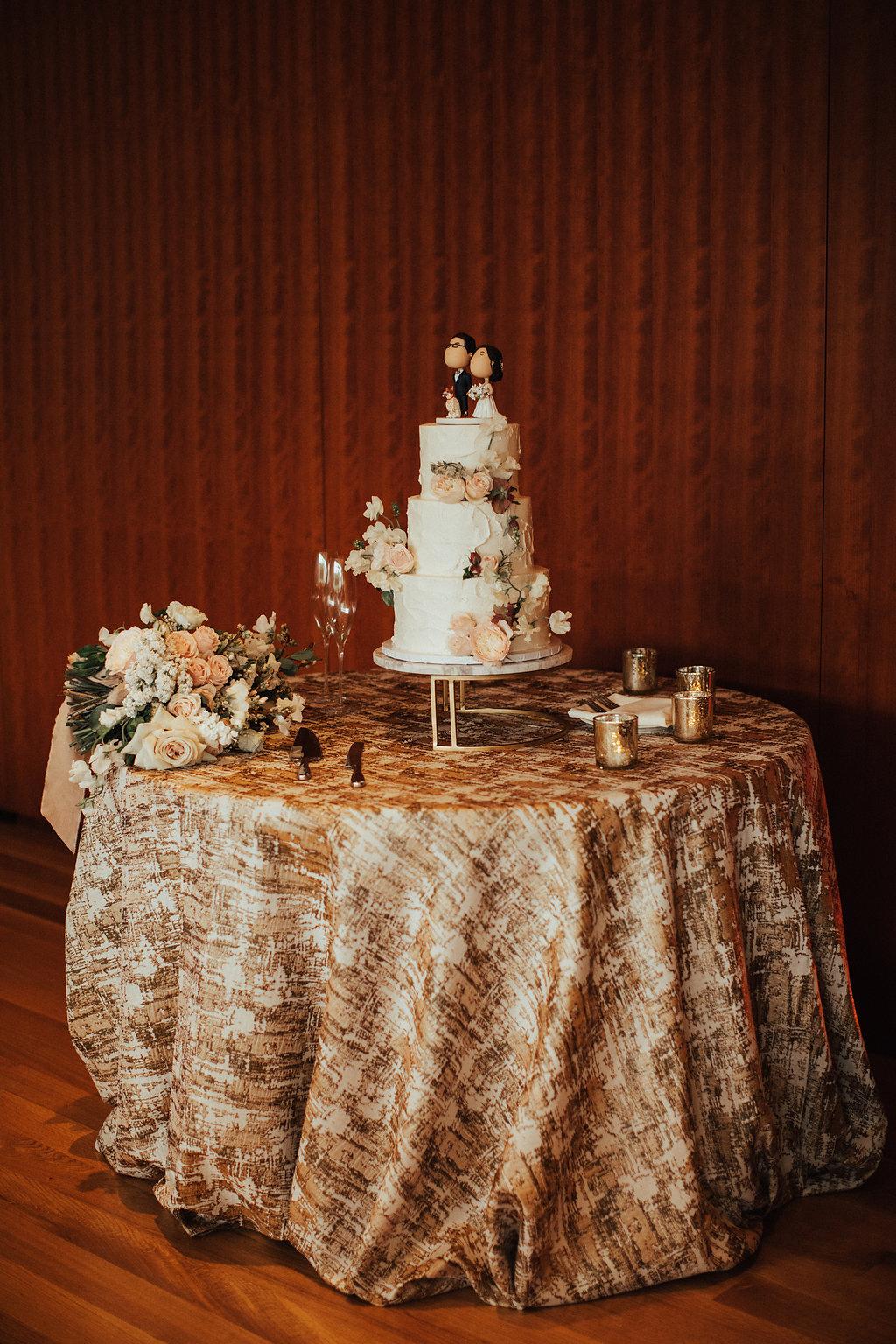 Modern Wedding Cake with Flowers   Whisk Bakery