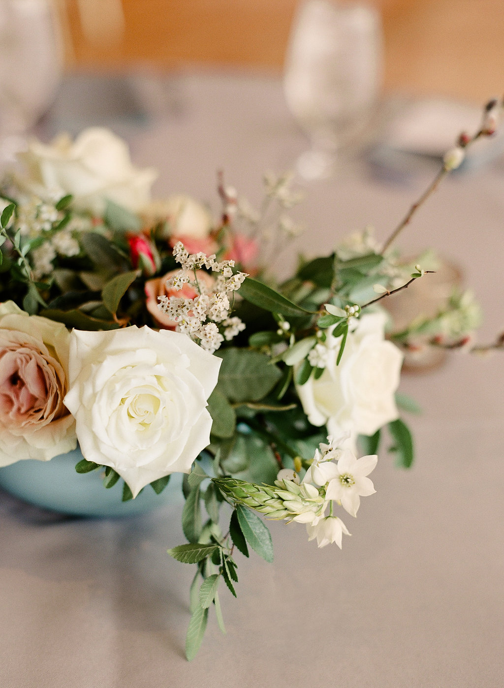 Asian Style floral centerpieces   Peach and French Blue