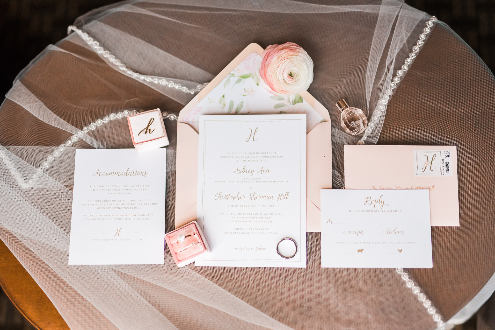 Pink Wedding Invitation with floral