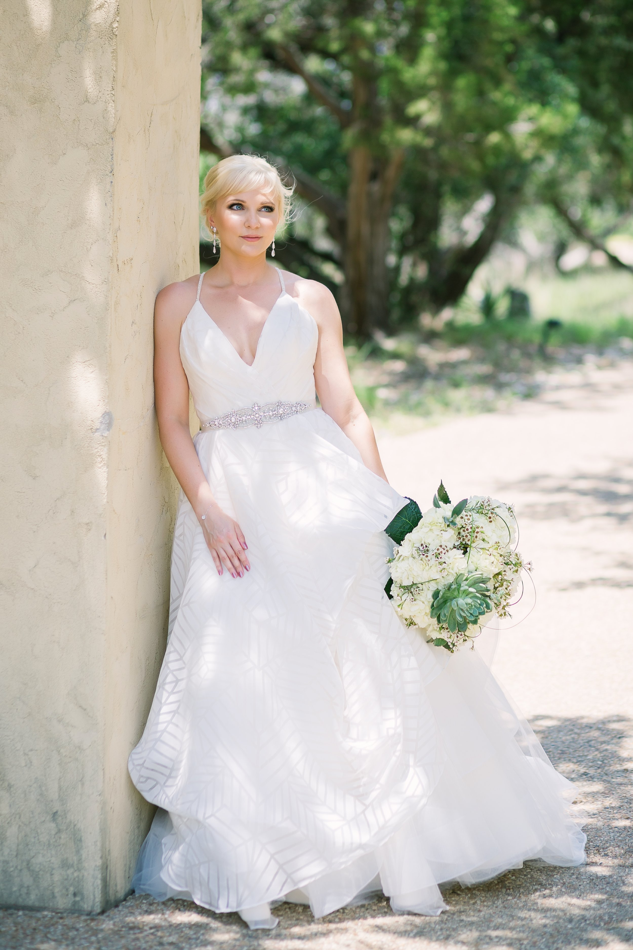 Bridal Portraits at Chapel Dulcinea in Austin, white bouquet with succulents