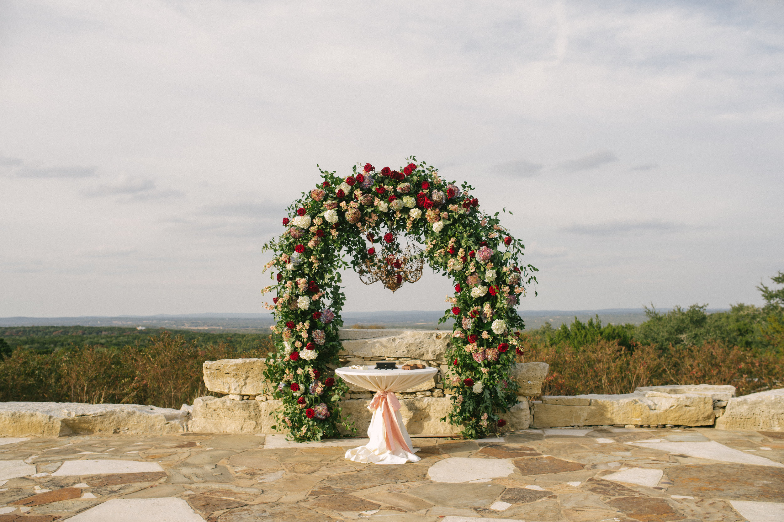 Floral Arch for a ceremony backdrop in the Hill Country