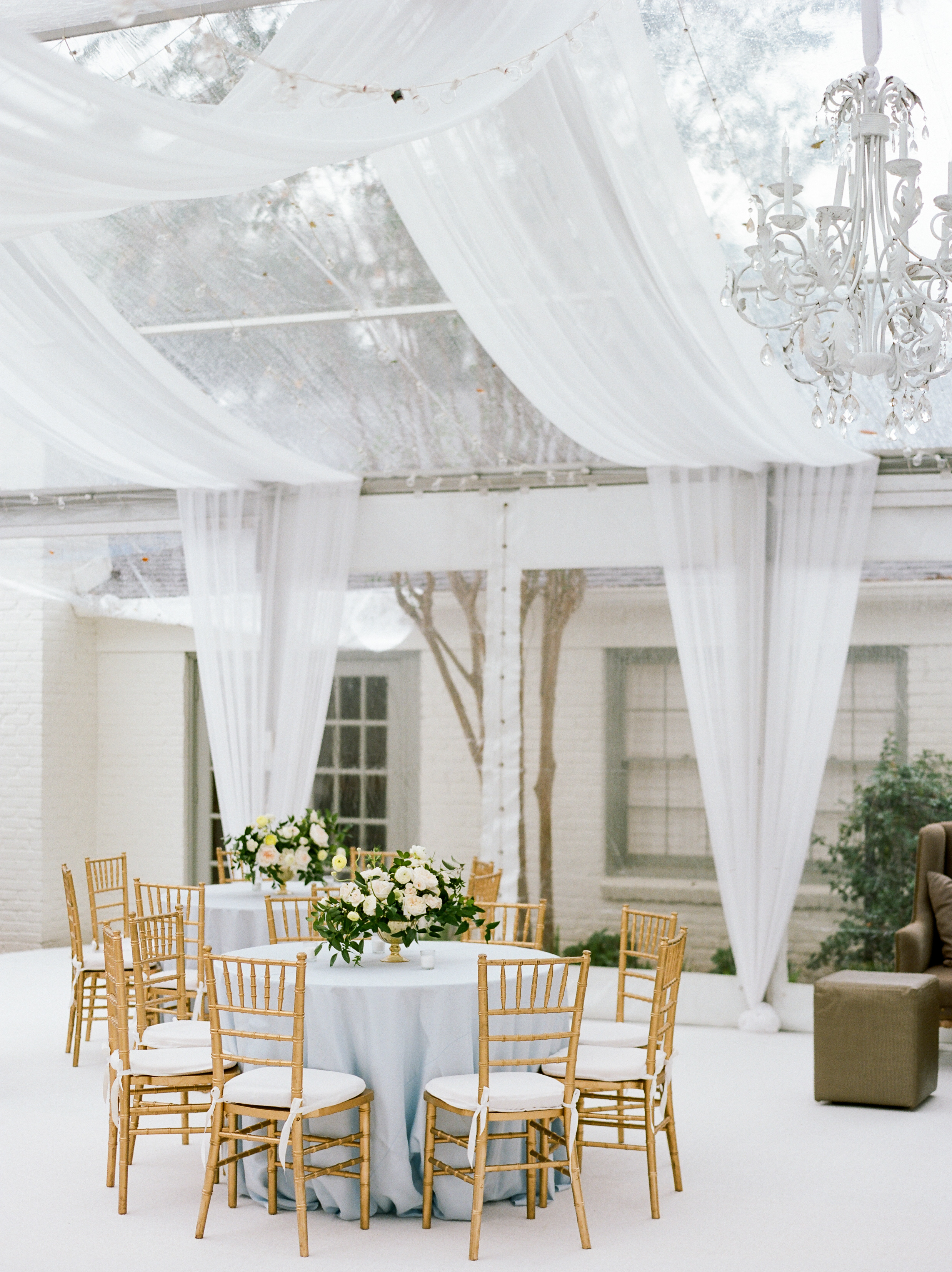 Private Home Wedding in Houston, Clear top Tent with draping