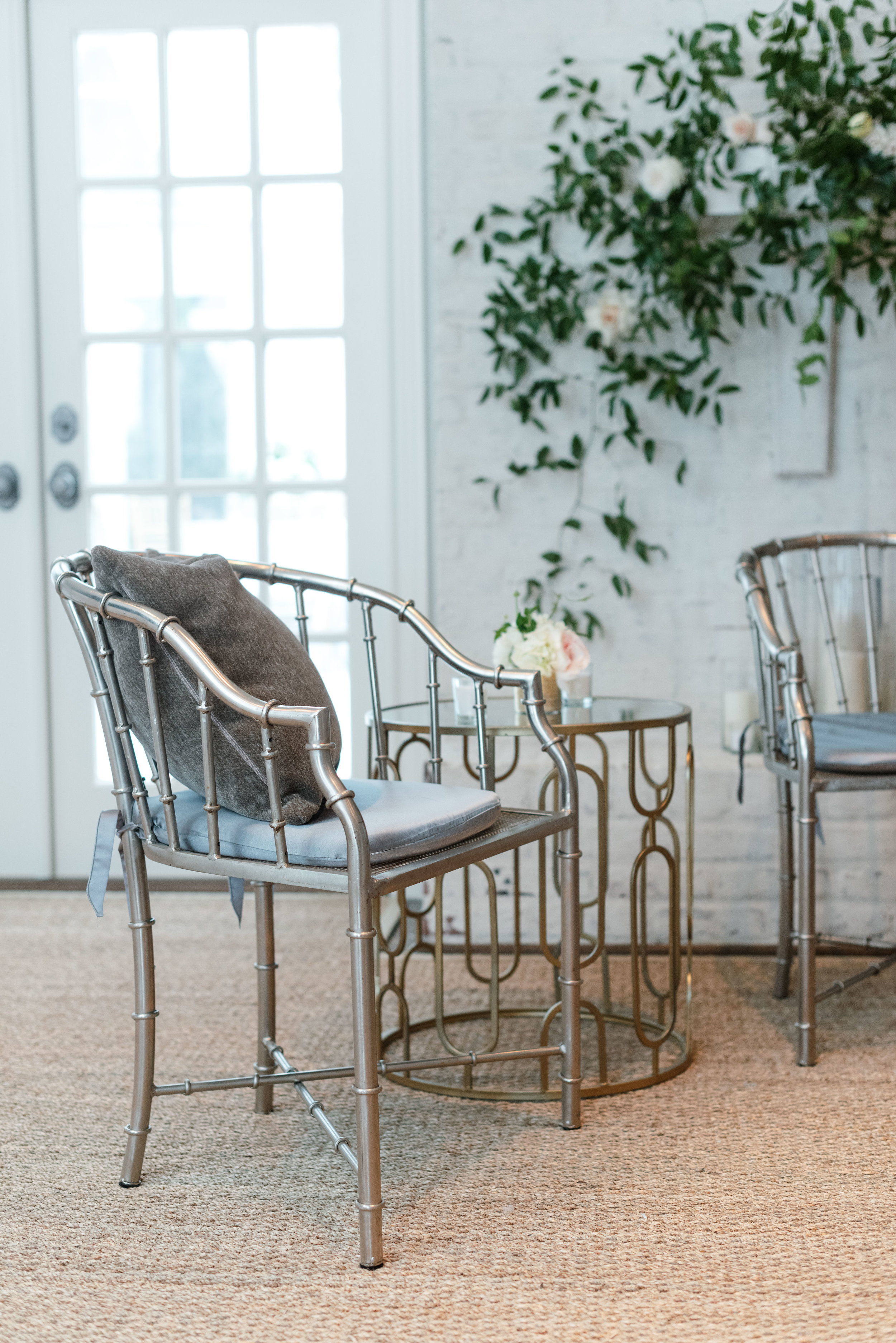 Mixed metal lounge seating | Private Residence Wedding Houston