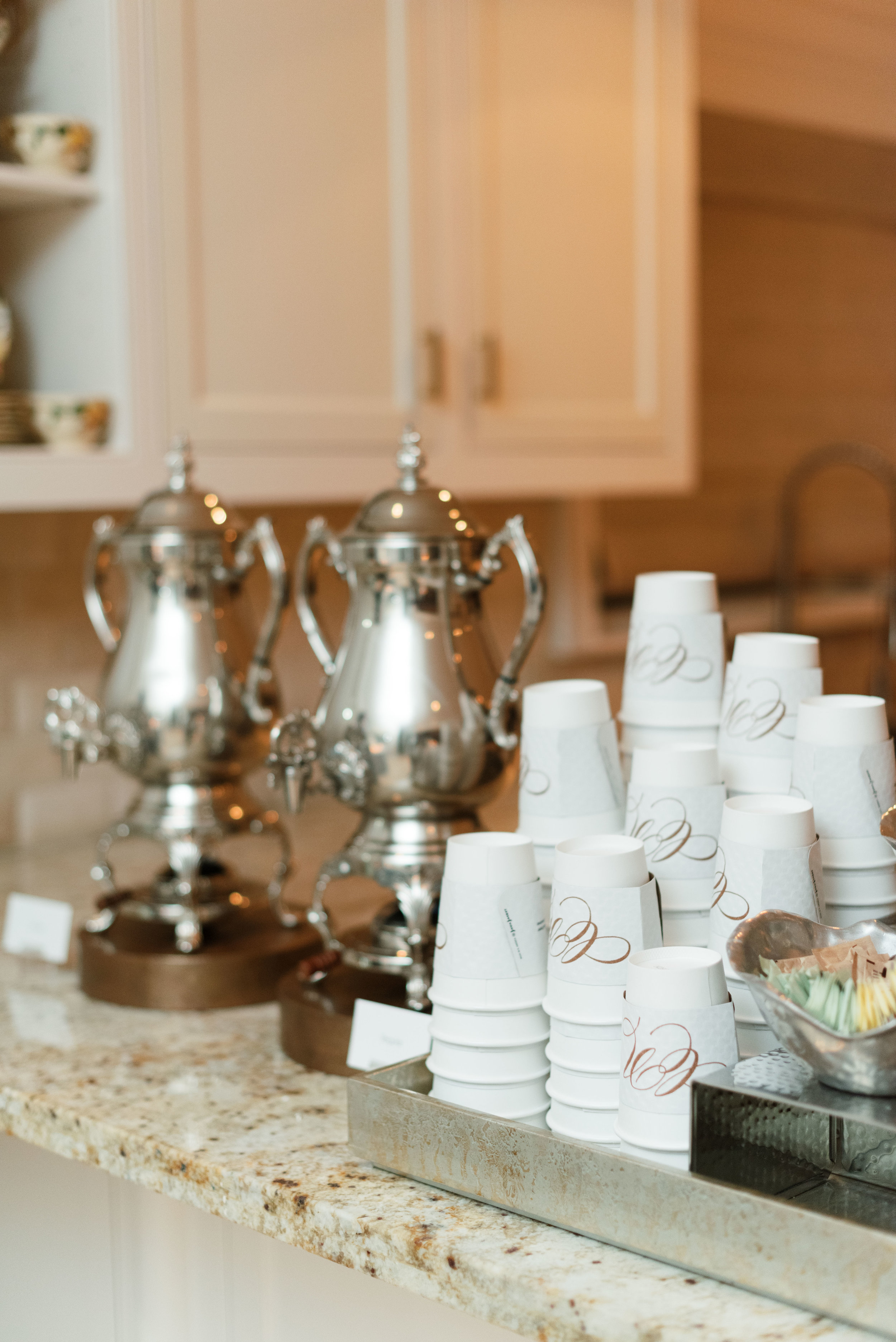Custom Coffee Sleeves | Luxe Home Wedding in Houston