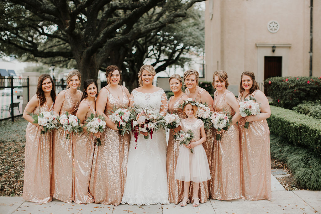 Bridesmaids Pink Shiny dresses | Houston Weddings