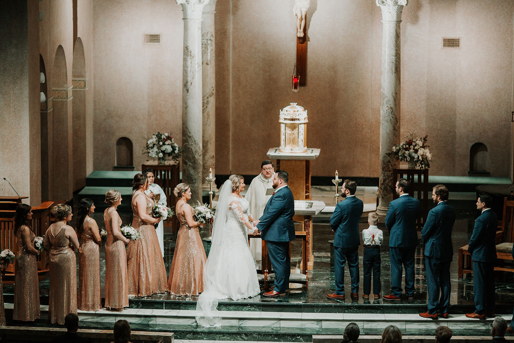 Church Ceremony with beautiful altar | Houston Weddings