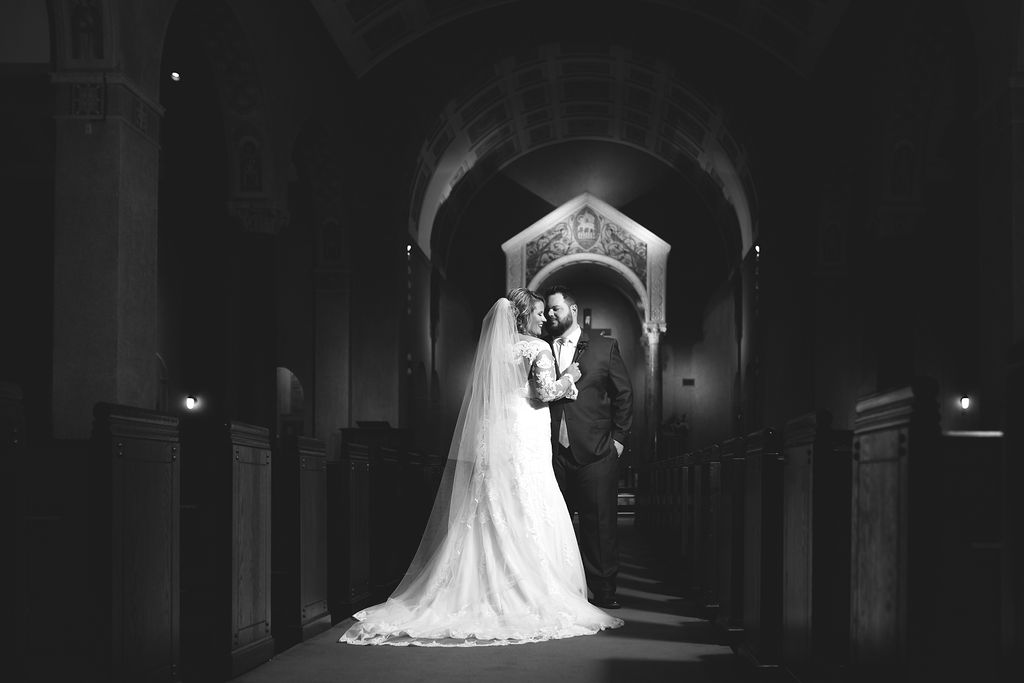 Bride + Groom pictures at church | Houston Weddings
