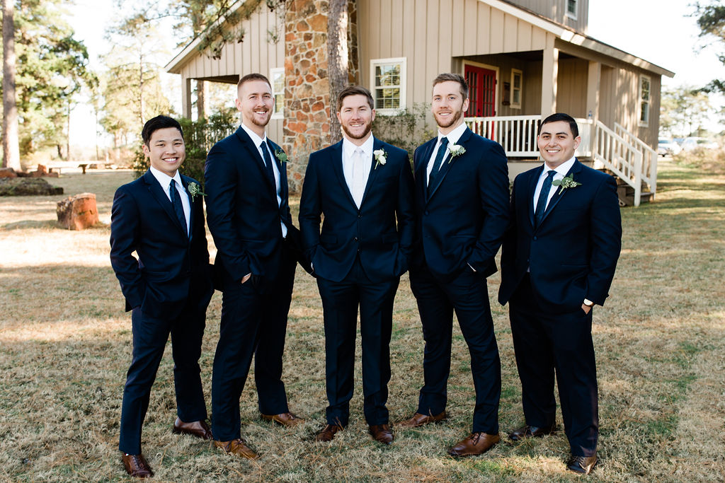 Groomsmen navy blue attire | Houston Weddings