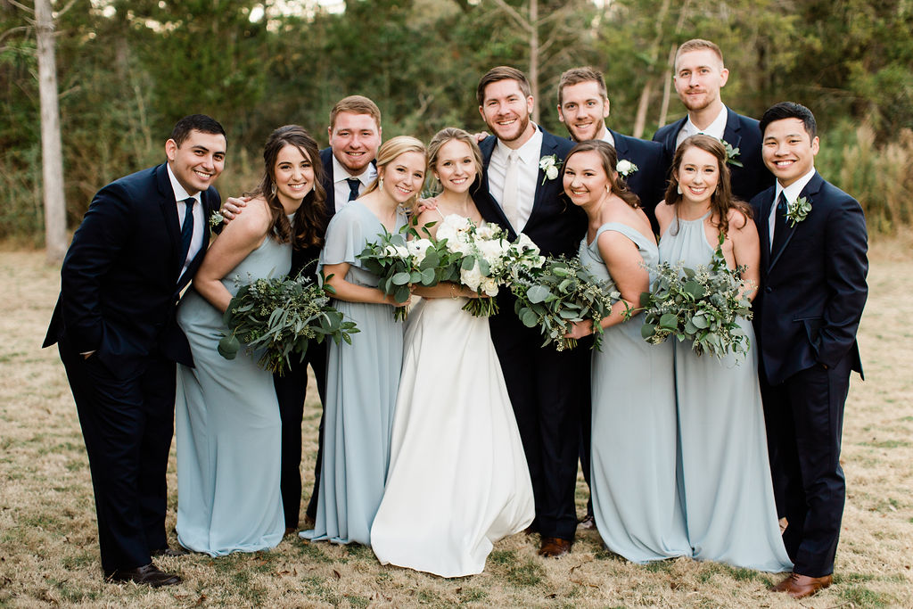 Bridesmaids and Grommsmen Pastel and Navy Blue | Houston Weddings