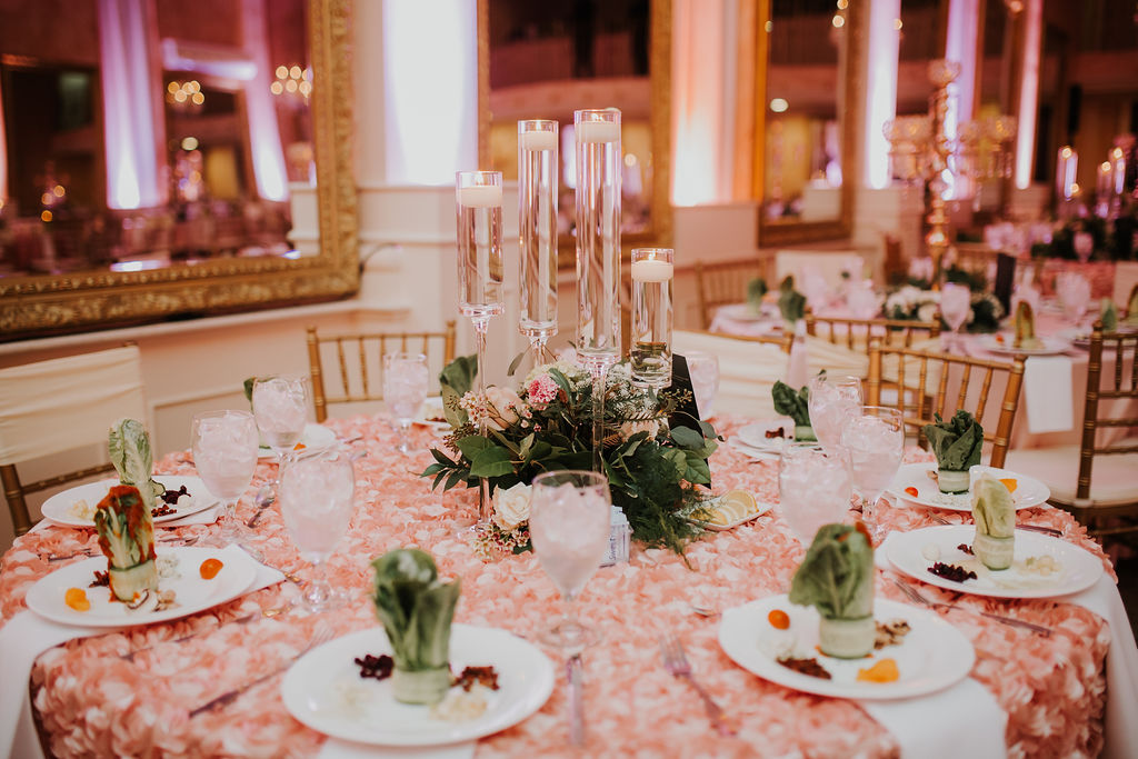 Heights Villa Candelabra Centerpiece | Blush table decor with greenery
