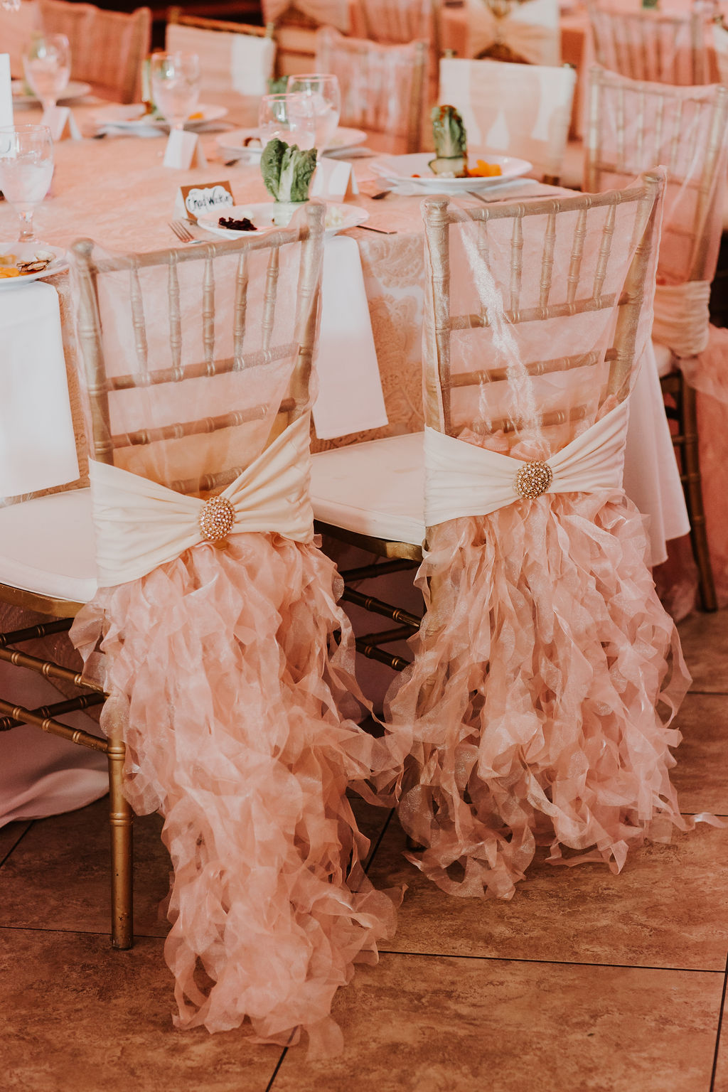 Blush Chair covers | Glam Houston Wedding