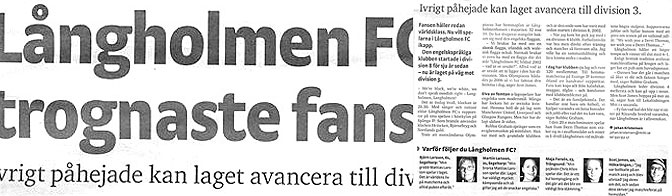 Pdf newspaper article about our faithful supporters and fans..