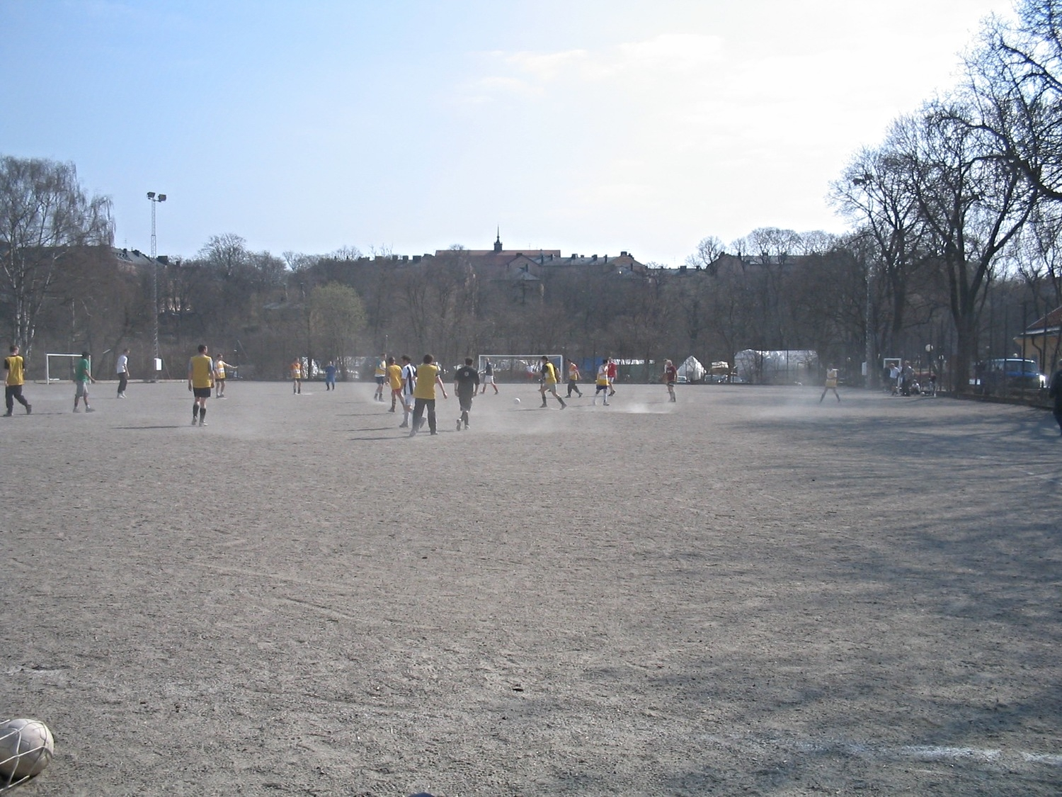 Early kick abouts on Långholem. Many players turned up to join in. Good vibes. Photo taken 17th April, 2004.