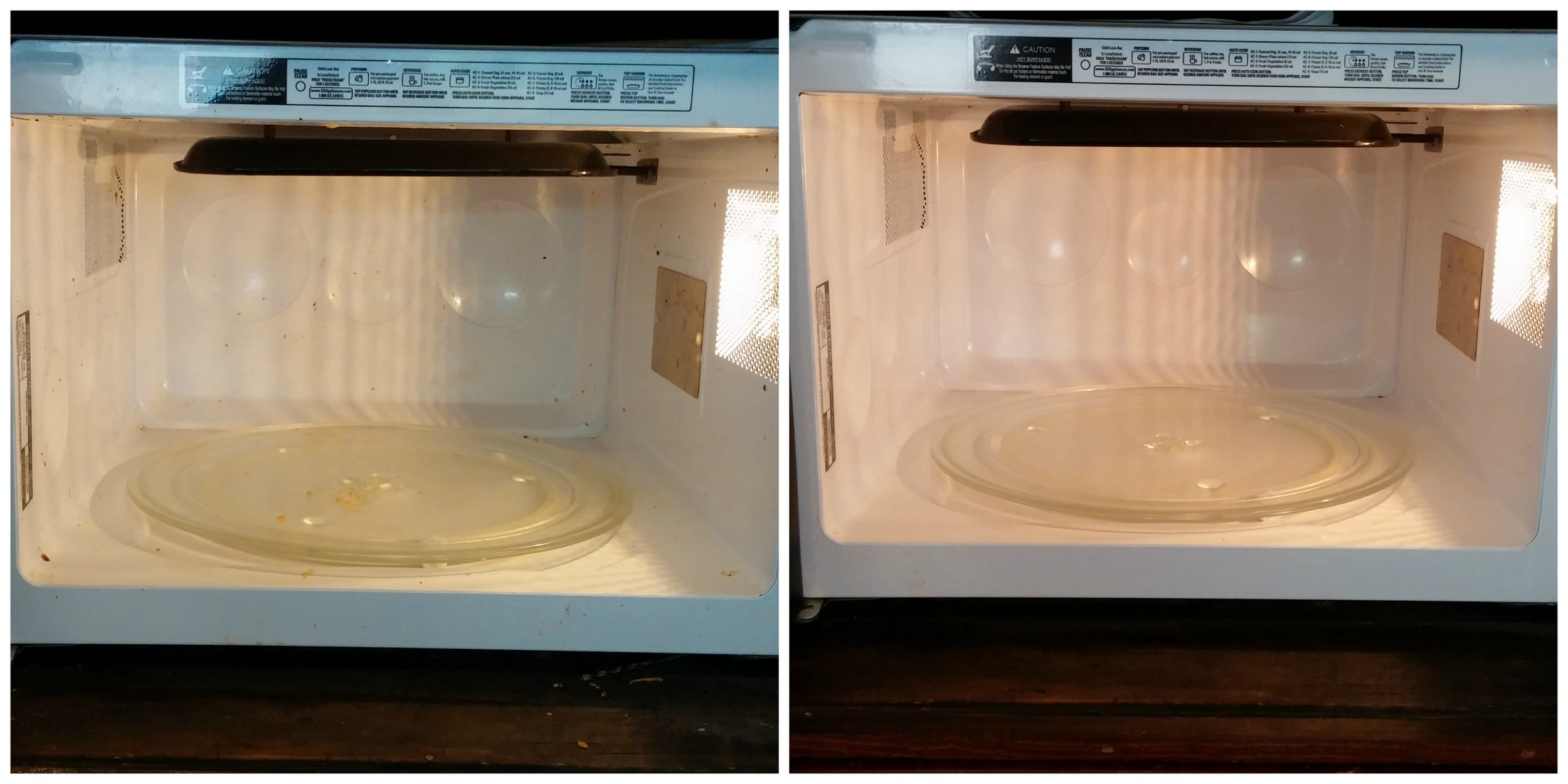 Before and after, inside the microwave
