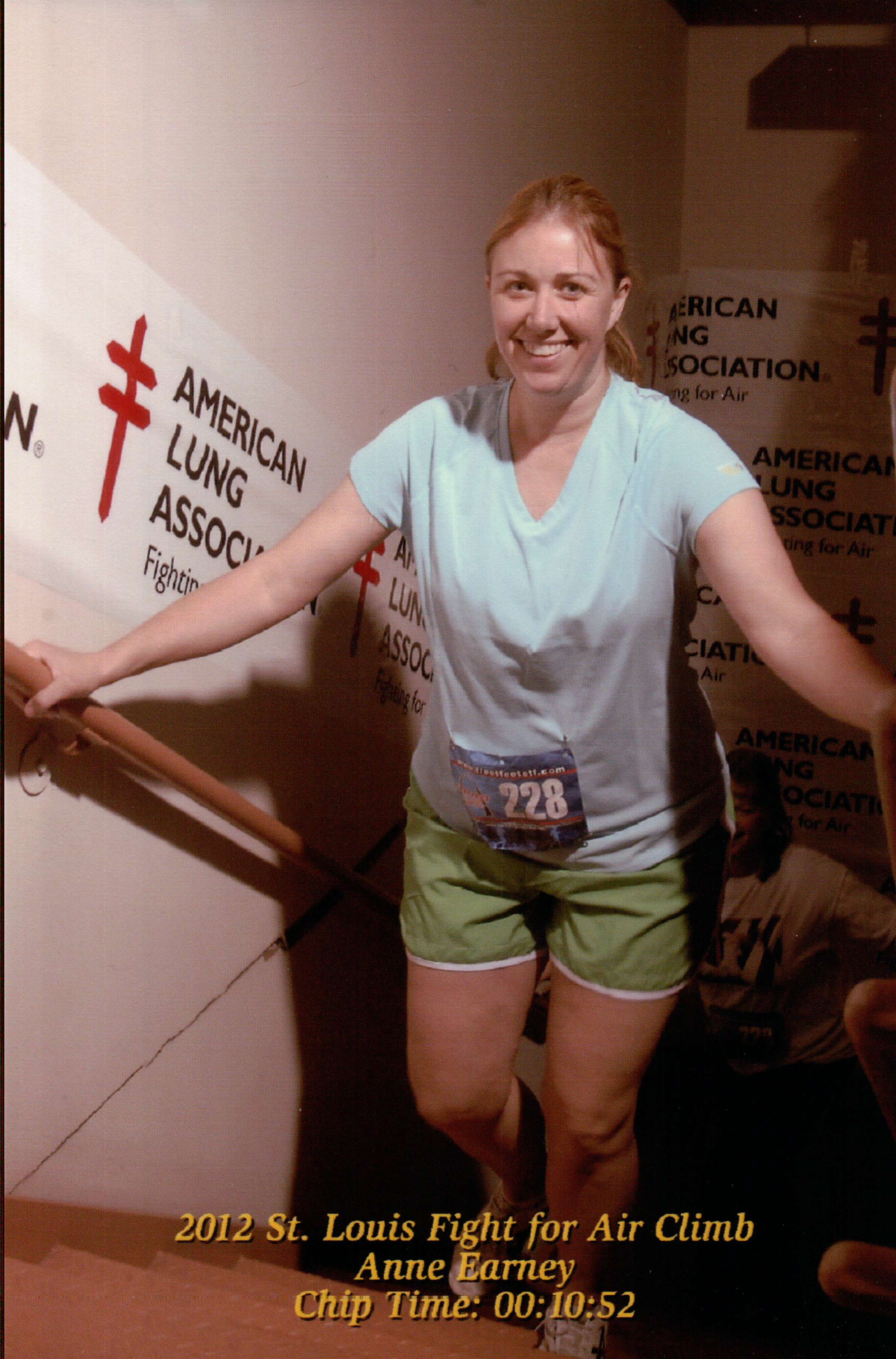 Me at the 2012 Master the Met. That's a fake smile; I wasn't happy at that point. Climbing stairs is tough.