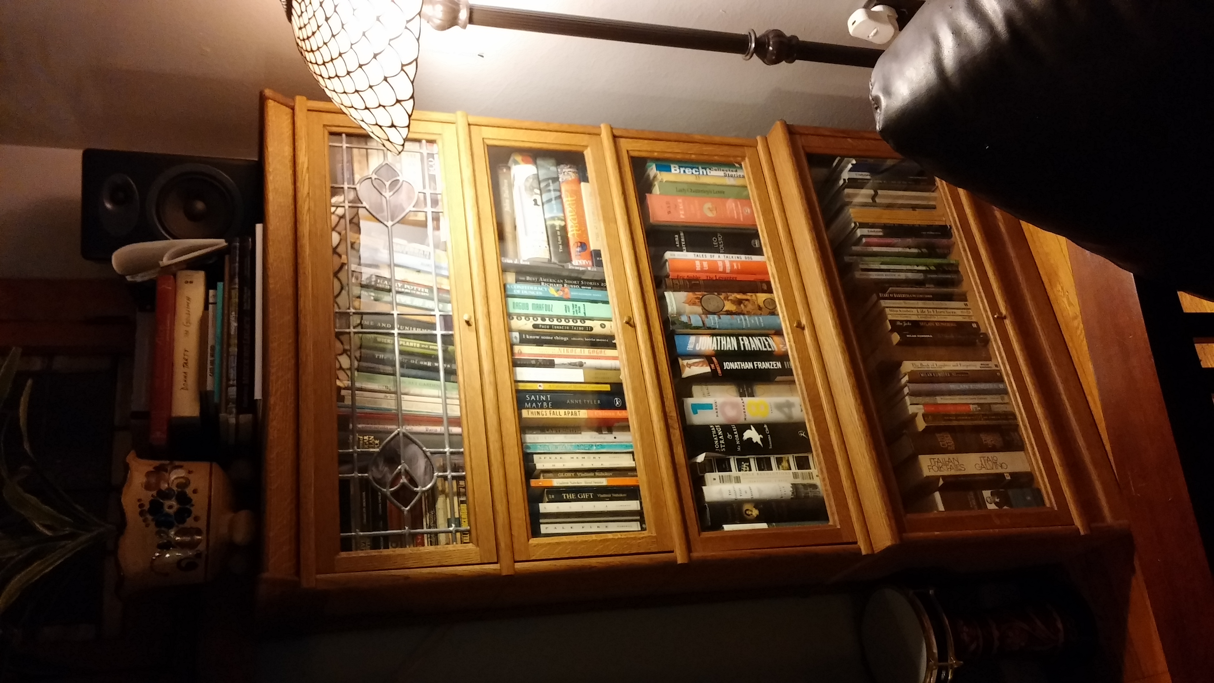 Before picture of one of the bookshelves in our living room.