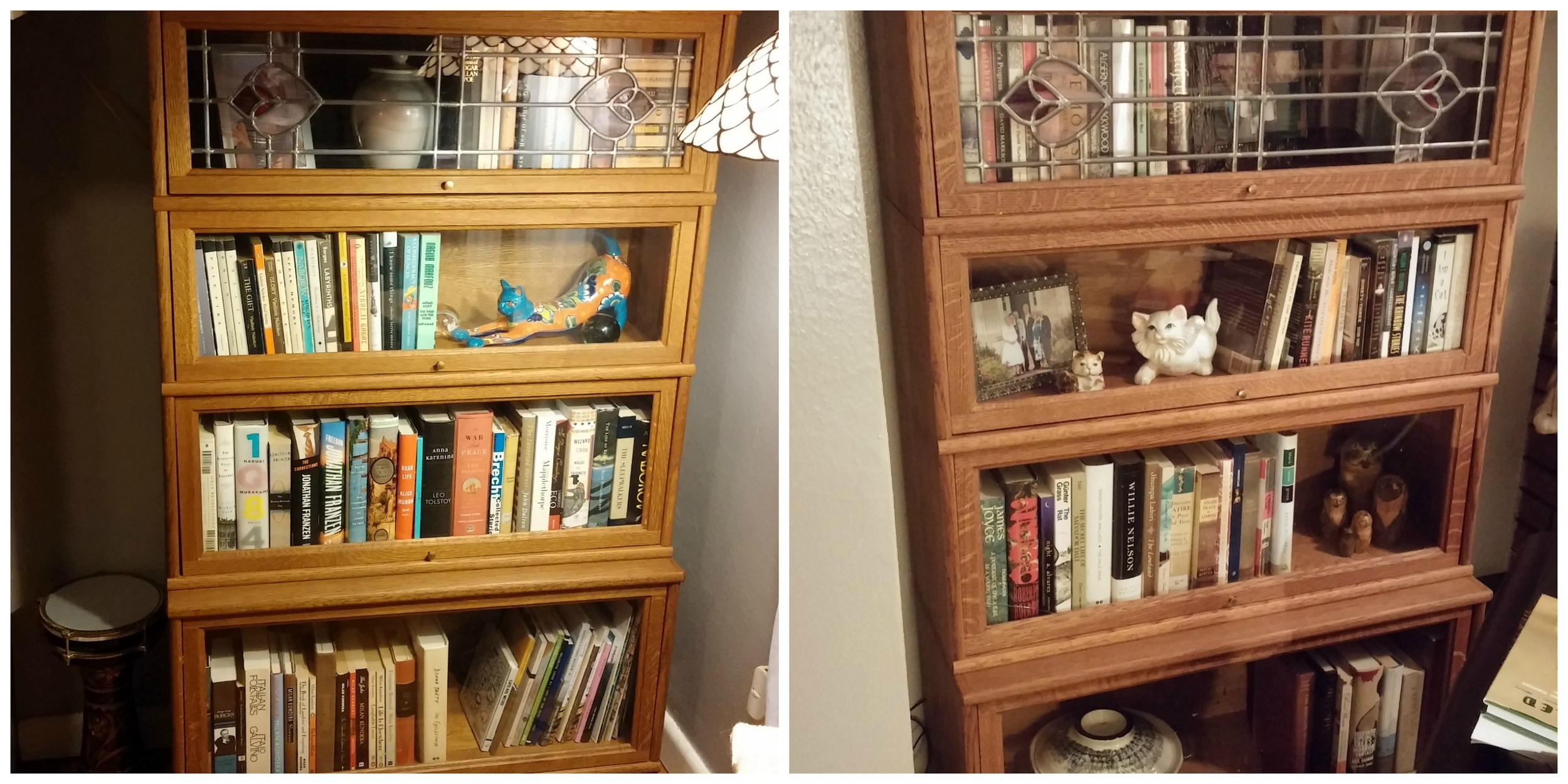 After photos of both shelves. I realize there are a lot of cat figurines in there. We absolutely need them.