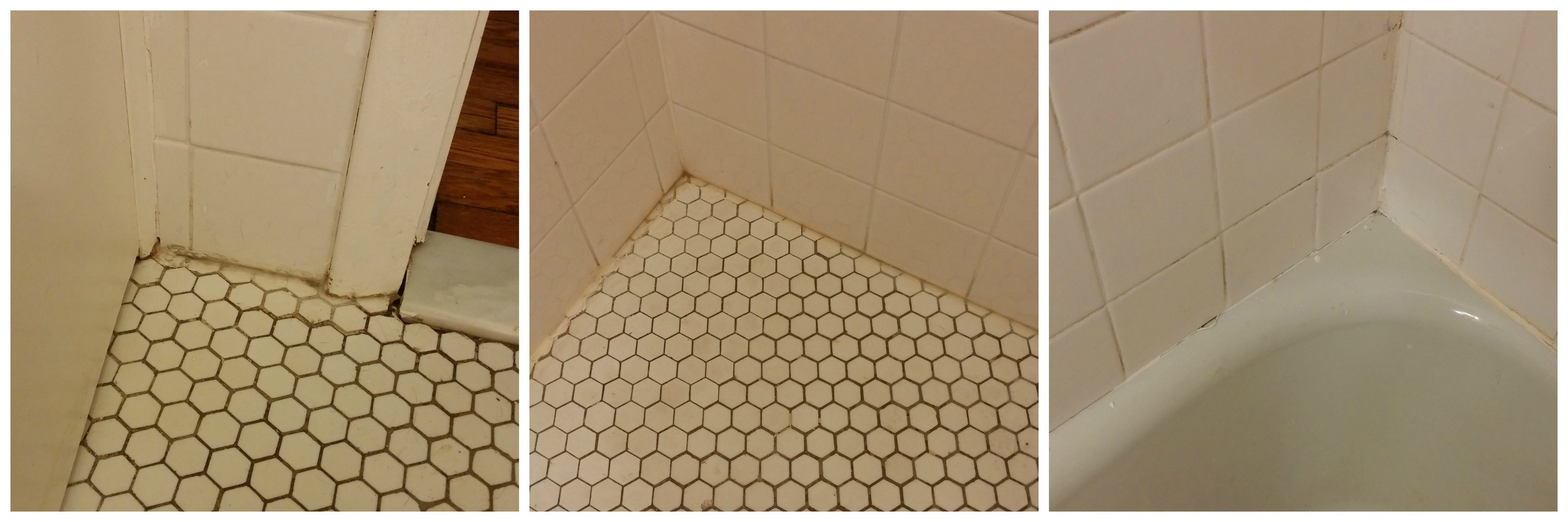 Ugly floor caulk (and a grout issue), and the caulk in the tub that needs to be replaced (and more grout issues)