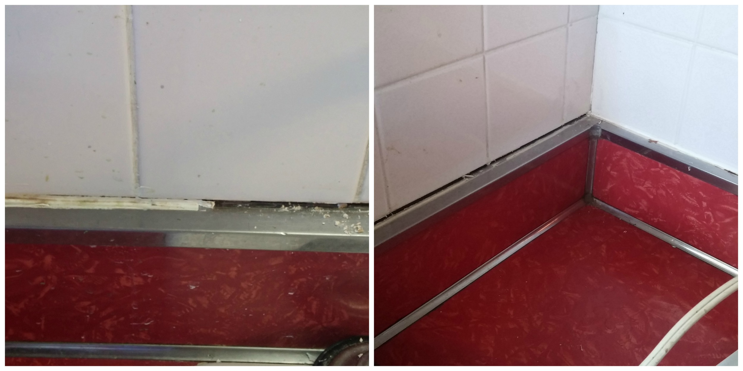 Areas with old caulk to the outsides of the pictures; cleared spots on the inside.