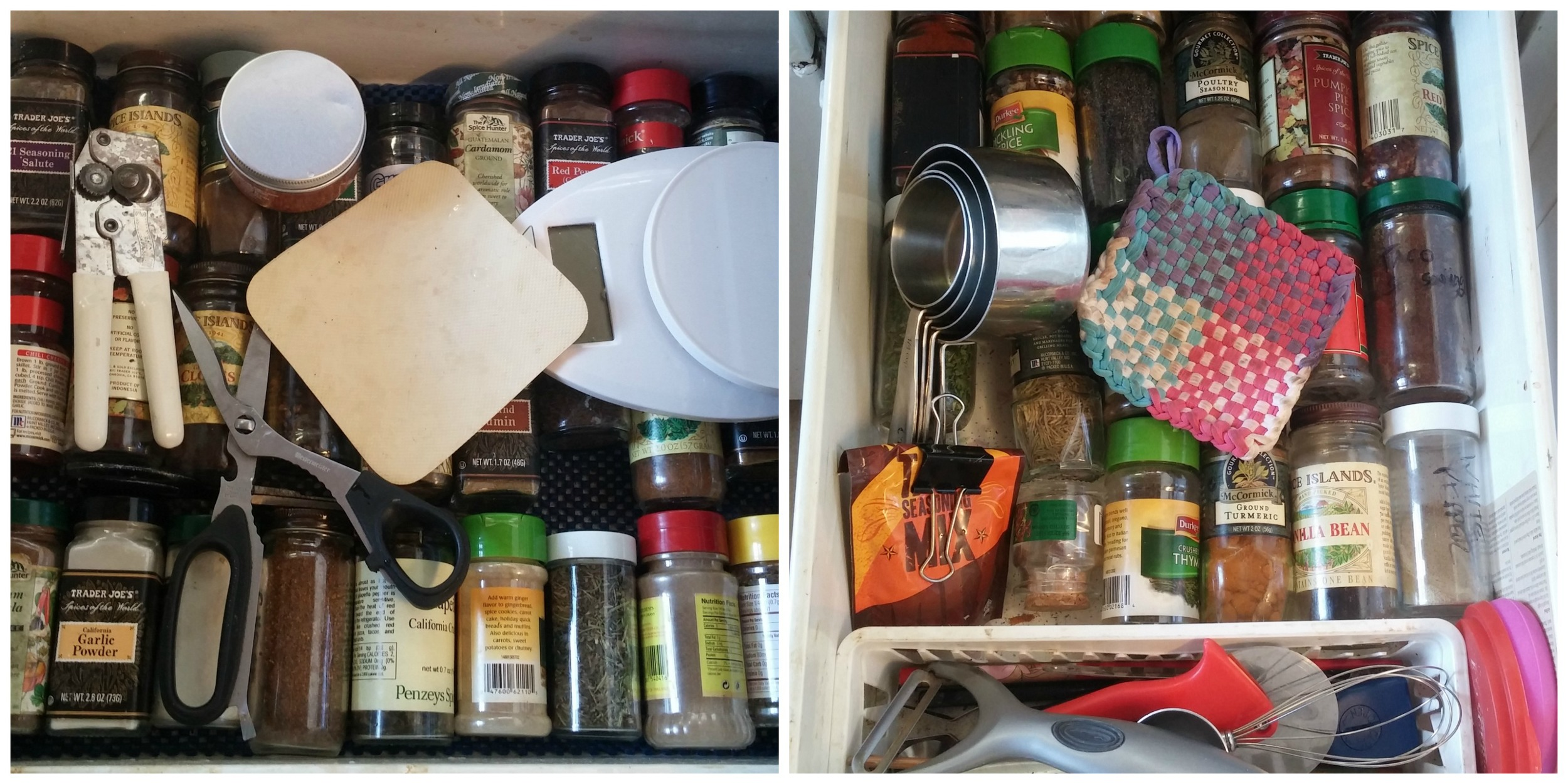 Spice drawers before