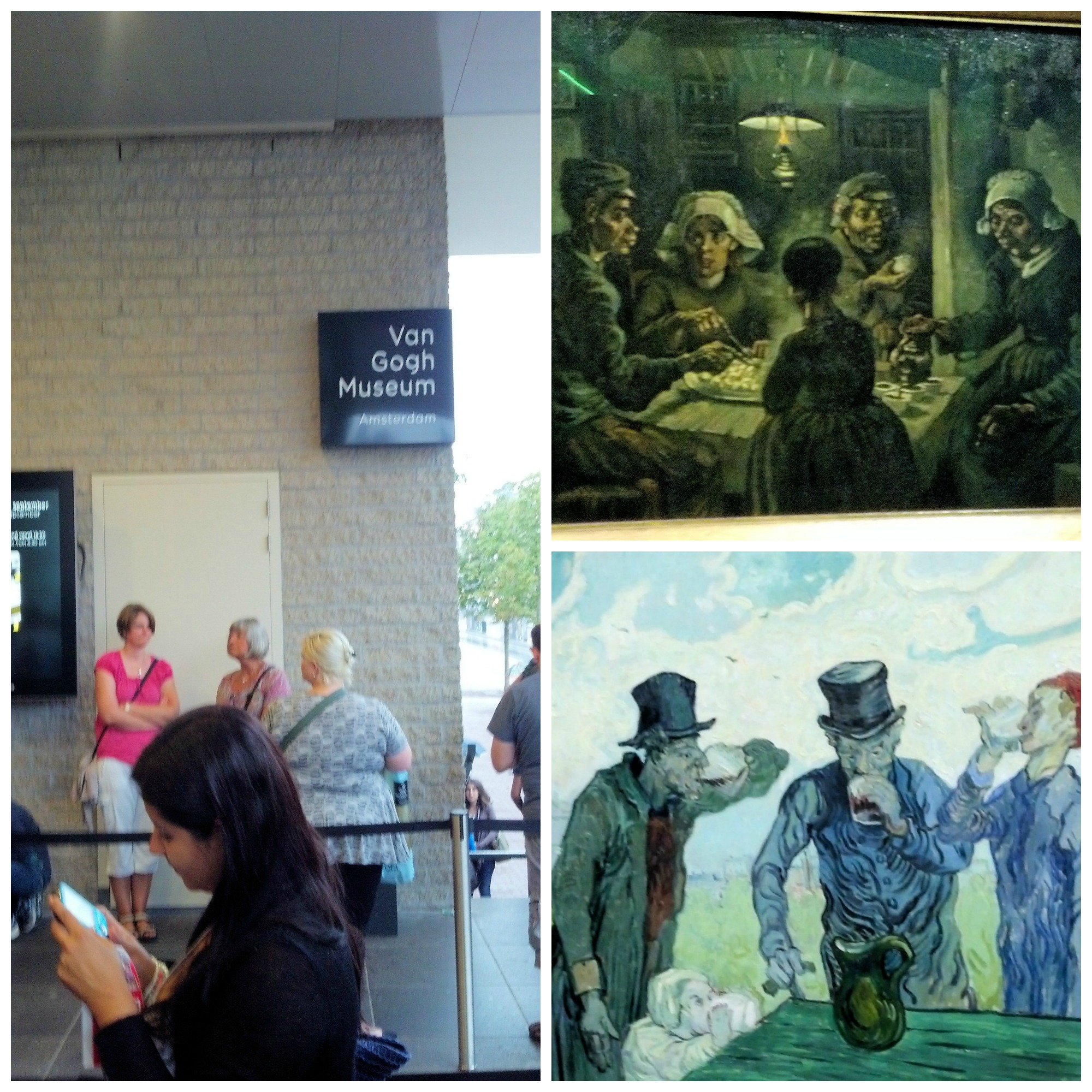 Waiting to enter the Van Gogh Museum and a couple pictures I took of the art while I was there.