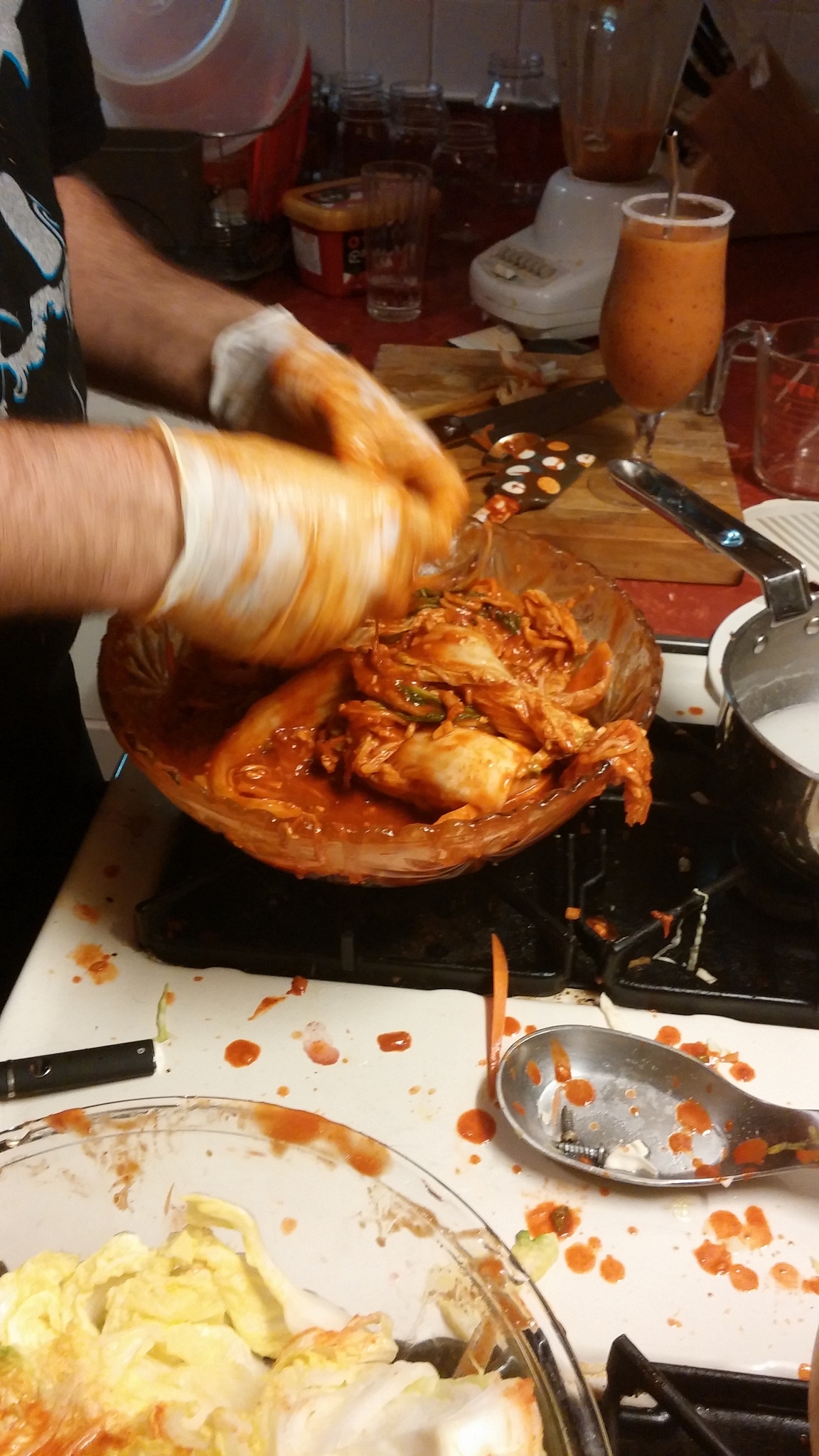 Making kimchi is messy business.