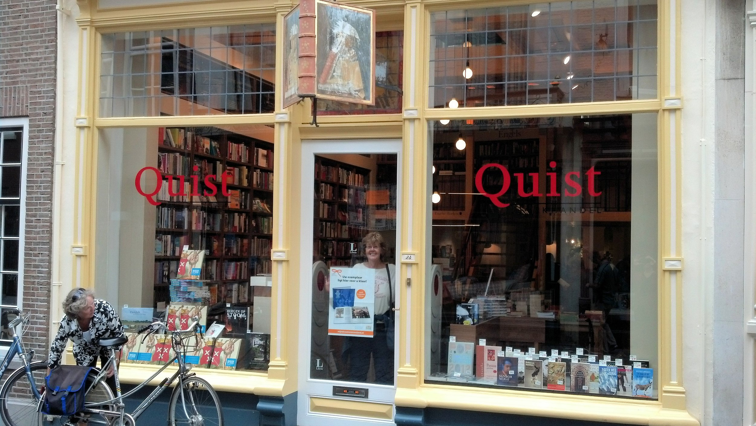 My mom at a great bookstore in the Netherlands.