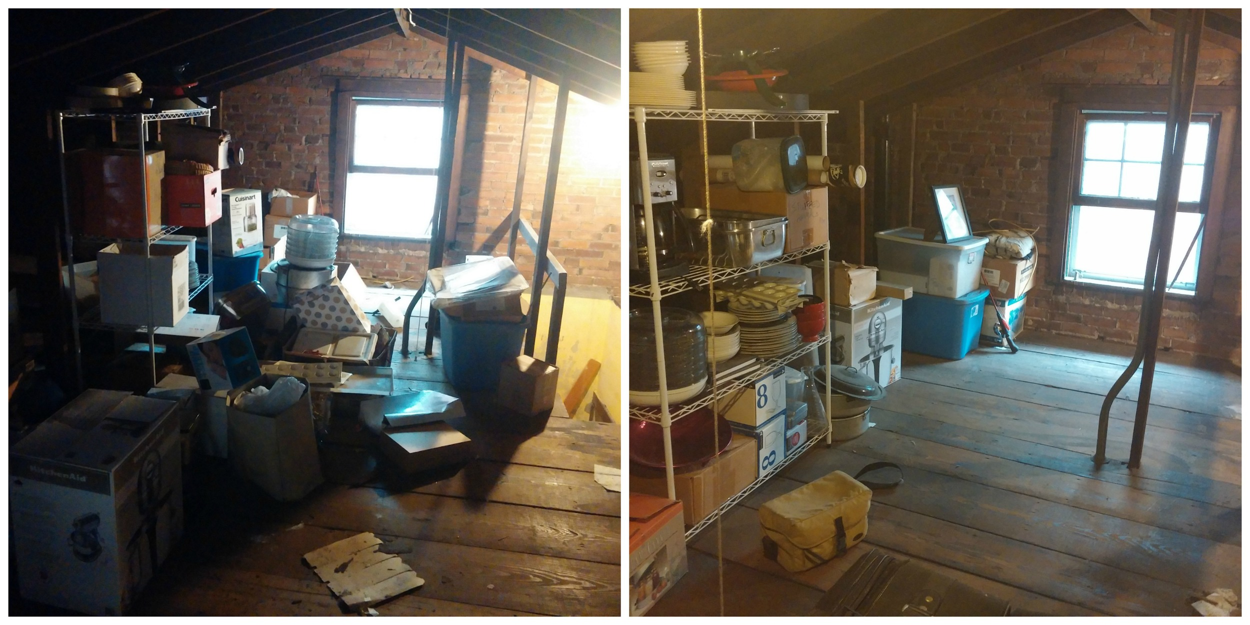 Before and after of one end of the attic.