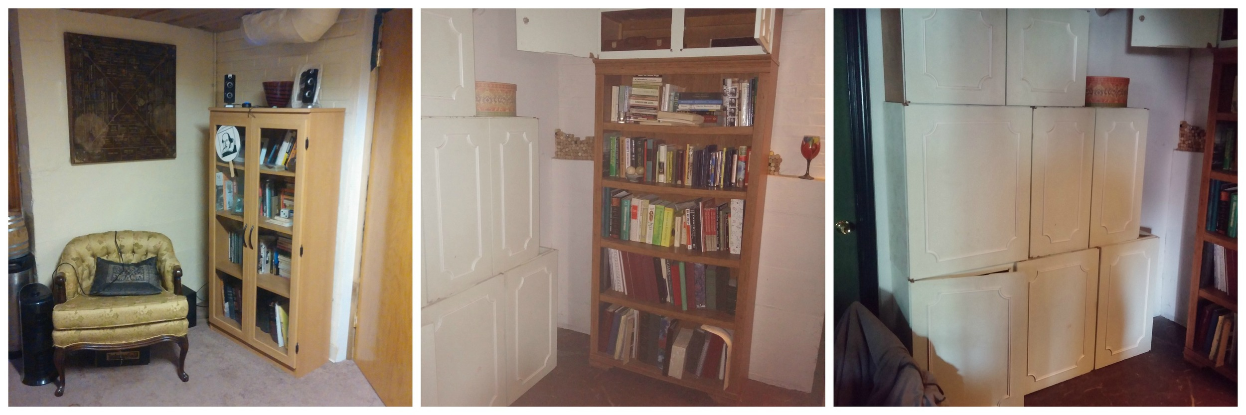 1) Where that chair is, there used to be a second bookcase. 2) One of what was two bookcases. 3) Wall o' cabinets - still some work to do, but you get the idea.