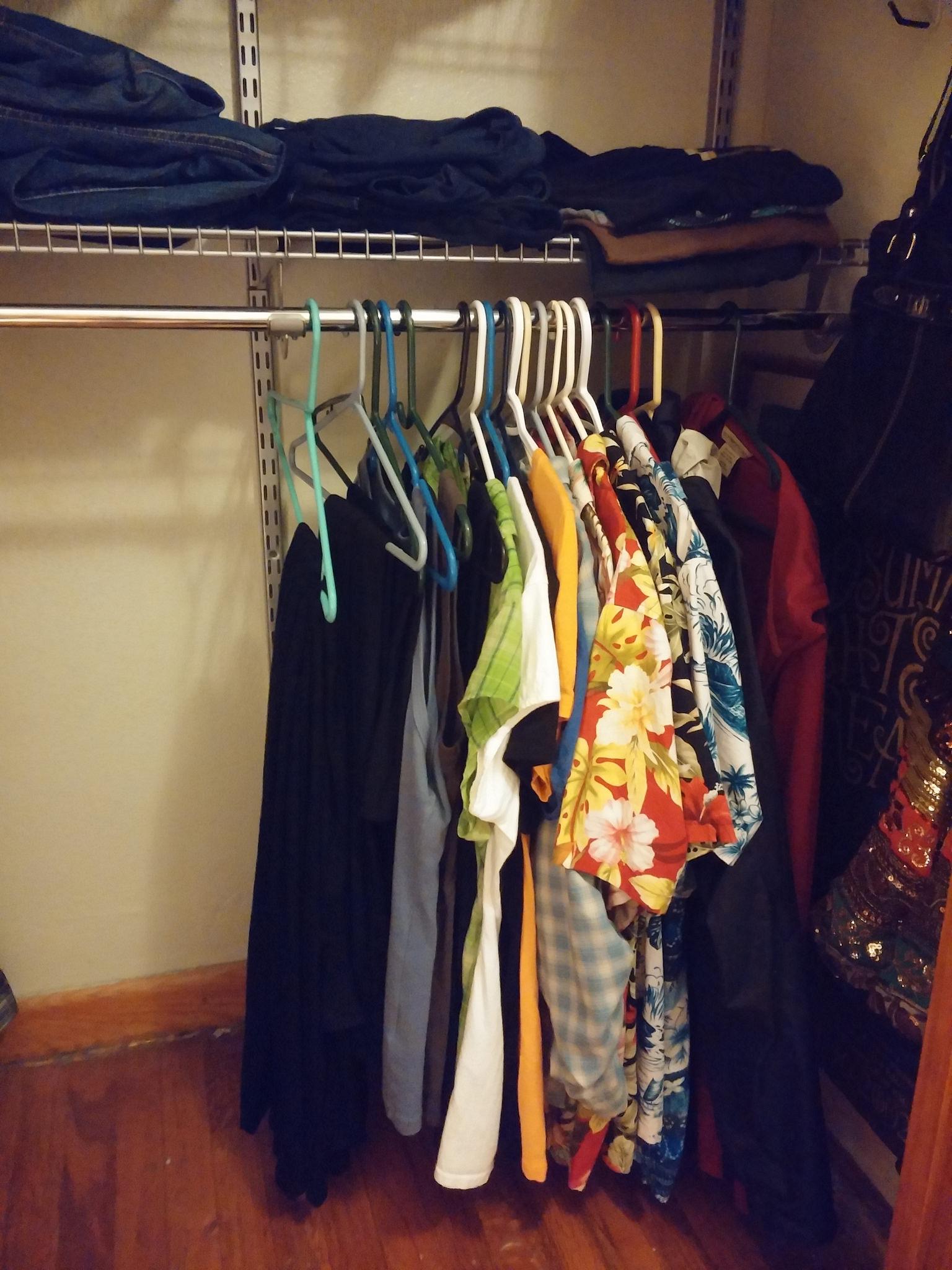 My entire summer capsule wardrobe, minus a few work shirts.