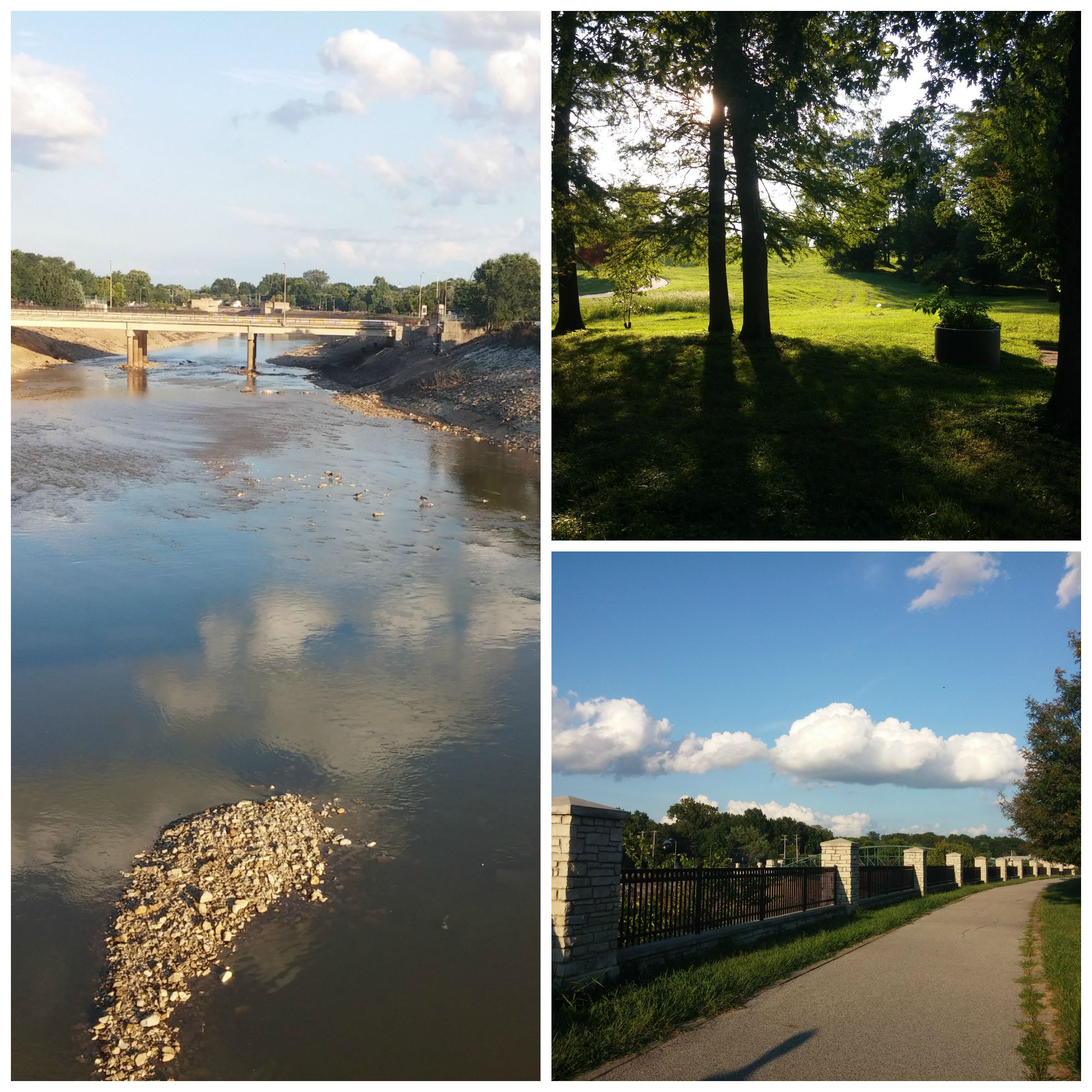"""Pictures from my afternoon walk: Looking south over River des Peres, trees at the base of """"cemetery hill,"""" and the trail (with fluffy clouds)on the west side of River des Peres."""