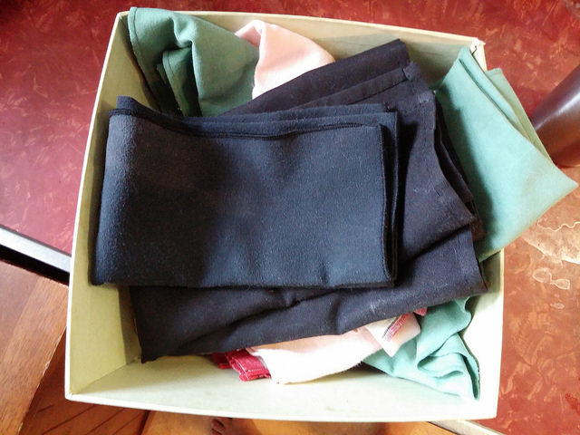 Our napkins - we have to keep this in a cabinet or it becomes a litter box. Damn cats.