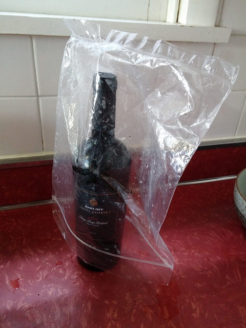 The current bag-drying method interferes with my drinking. :(