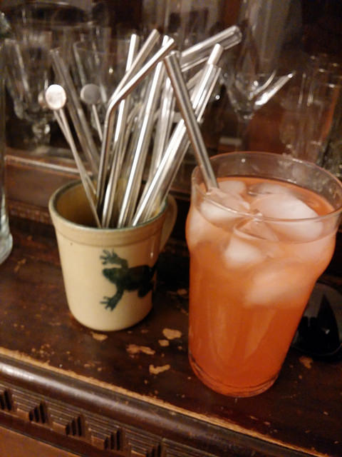 Reusable drinking straws, in use and in action