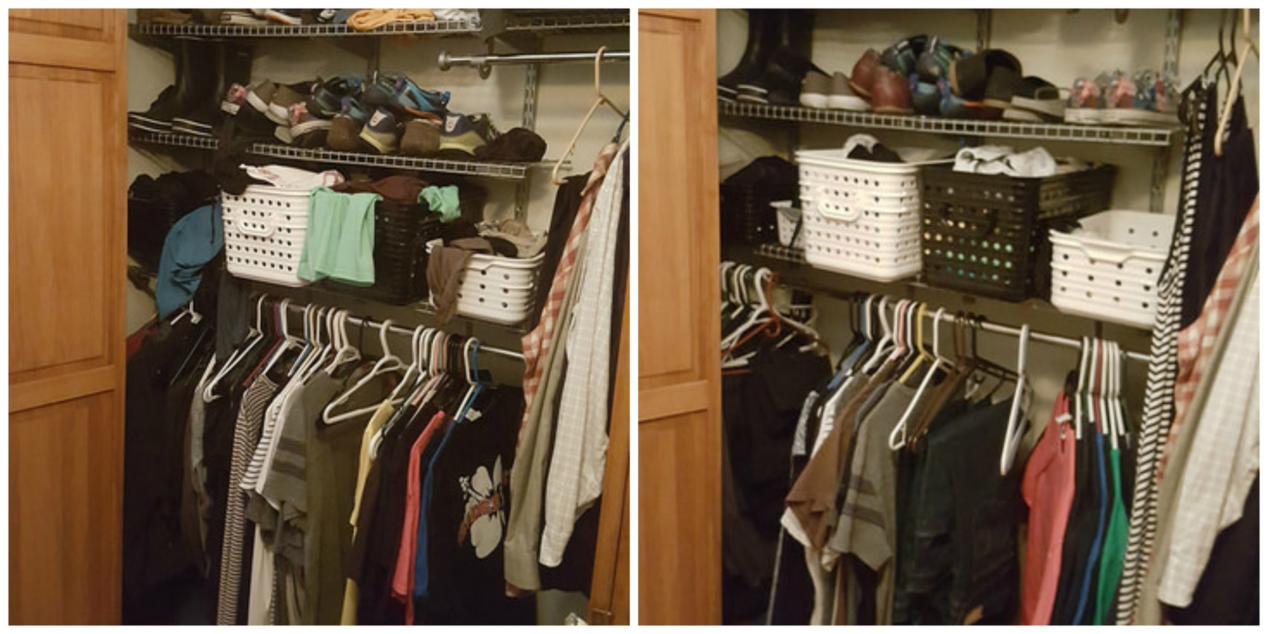 Before (left) - so many shoes, no dresses, jeans must have all been in the wash, long-sleeve shirts not suitable for summer in St. Louis (far right is Eric's stuff). And after - less of everything except jeans and dresses (sorry, Eric, but the other curtain rod is so low!).