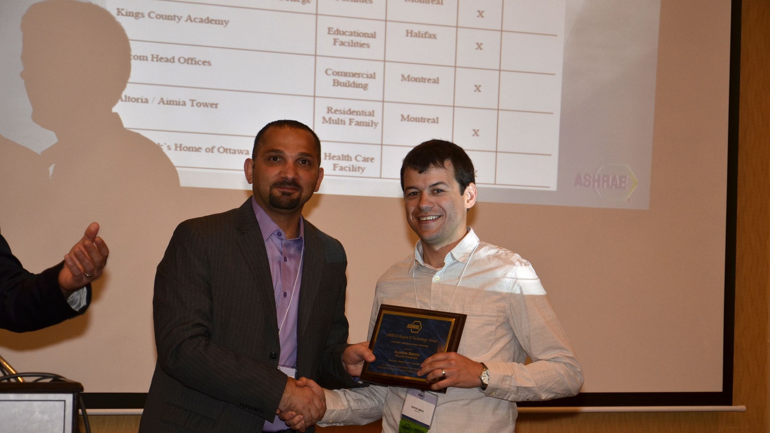 Aaron Smith receiving the Region II Technology Award from Assistant Regional Chair Ibrahim Semhat