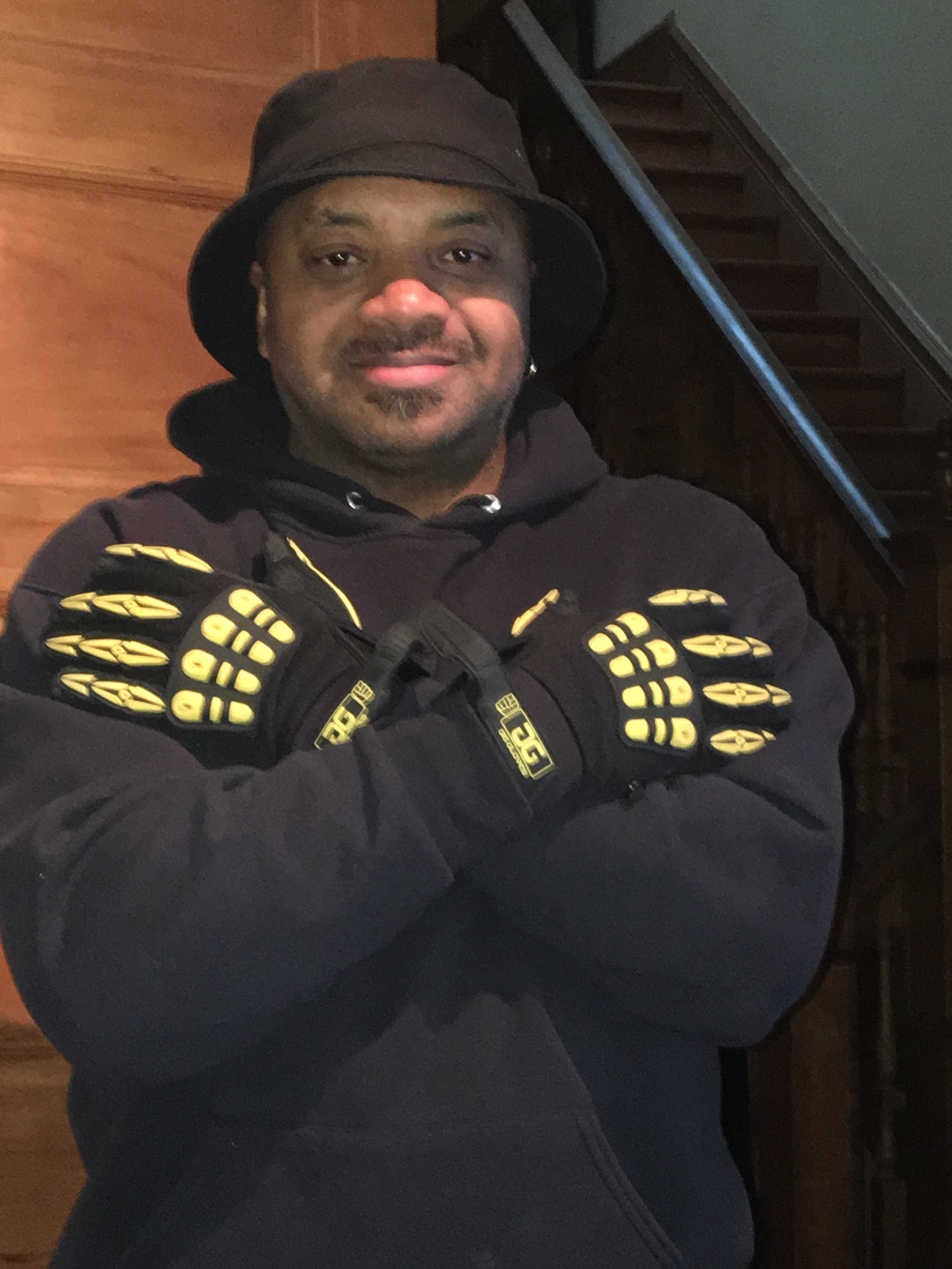 Saxophonist Alonzo Wright and his Original Gig Gloves.