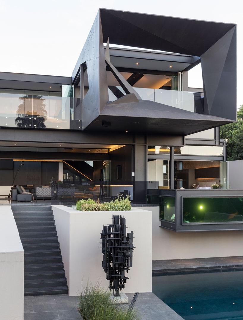 angular steel facade