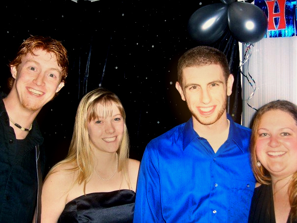 This was that infamous night. This was also during the experimentation years of Photoshop where I was rightfully appalled by the blown out highlights in this picture, but wrongfully chose to make us yellow instead. I also had bangs. Hi, bangs.