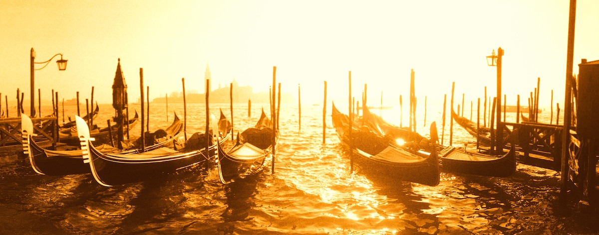 Sunset with gondolas