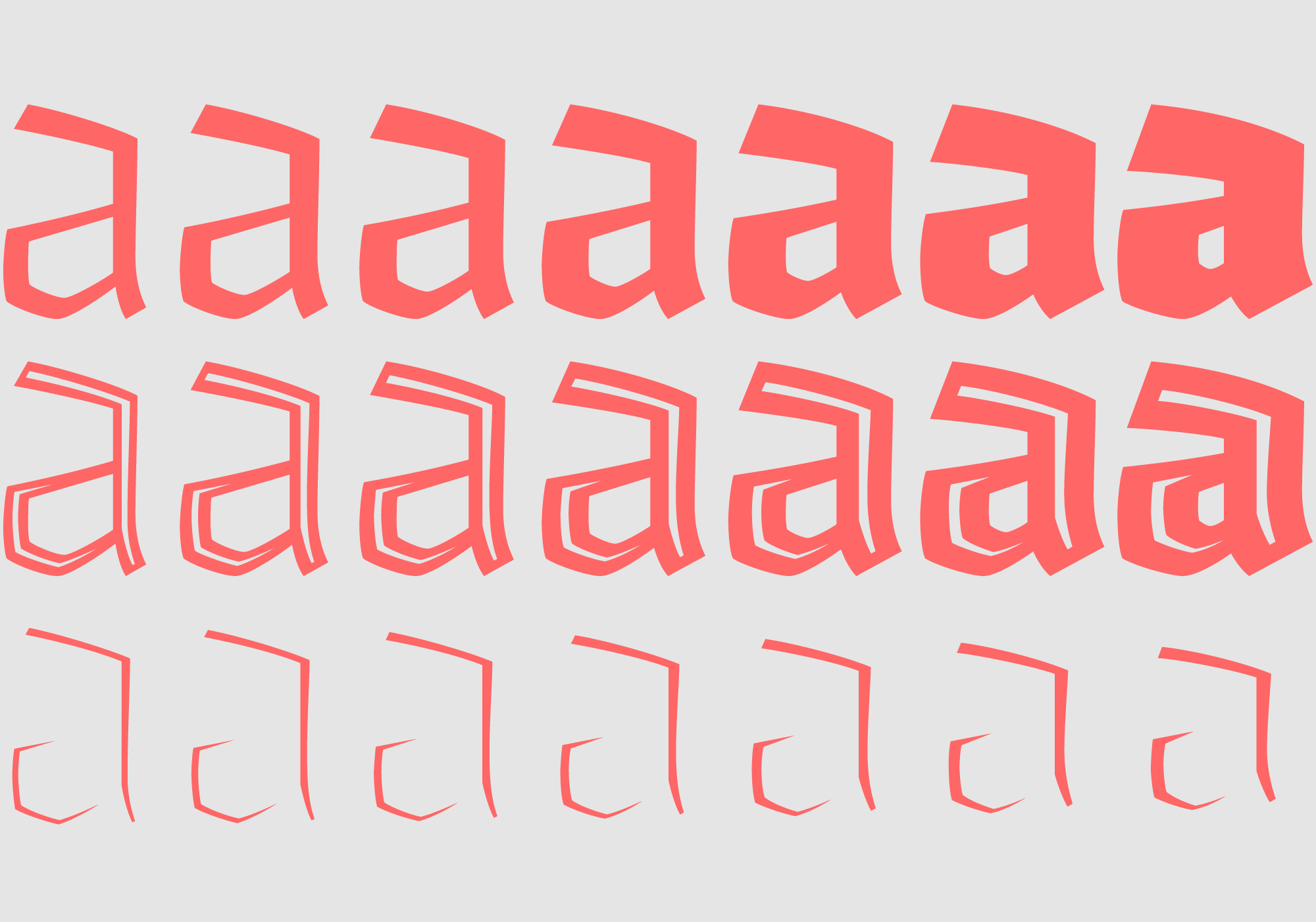 The family includes seven weights in solid and inline version plus the complementary fill fonts.