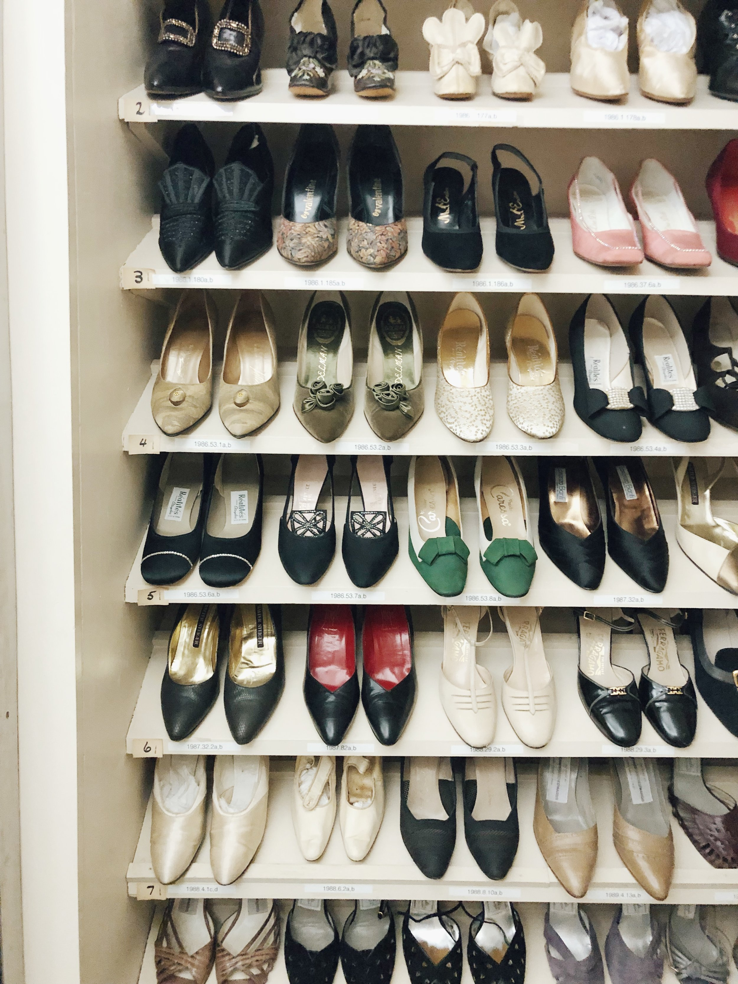 part of the shoe archive, housed in what used to be Goldie's powder room and closet.