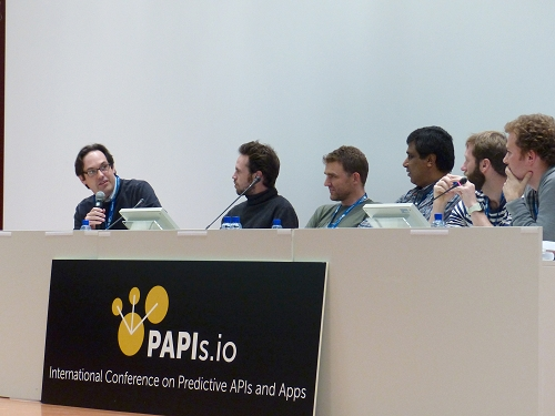David Gerster (BigML), Alexandre Vallette (ANTS), Keiran Thompson (Datagami), Andy Thurai (IBM), Shawn Scully (Dato) and Misha Bilenko (Microsoft) at PAPIs '14