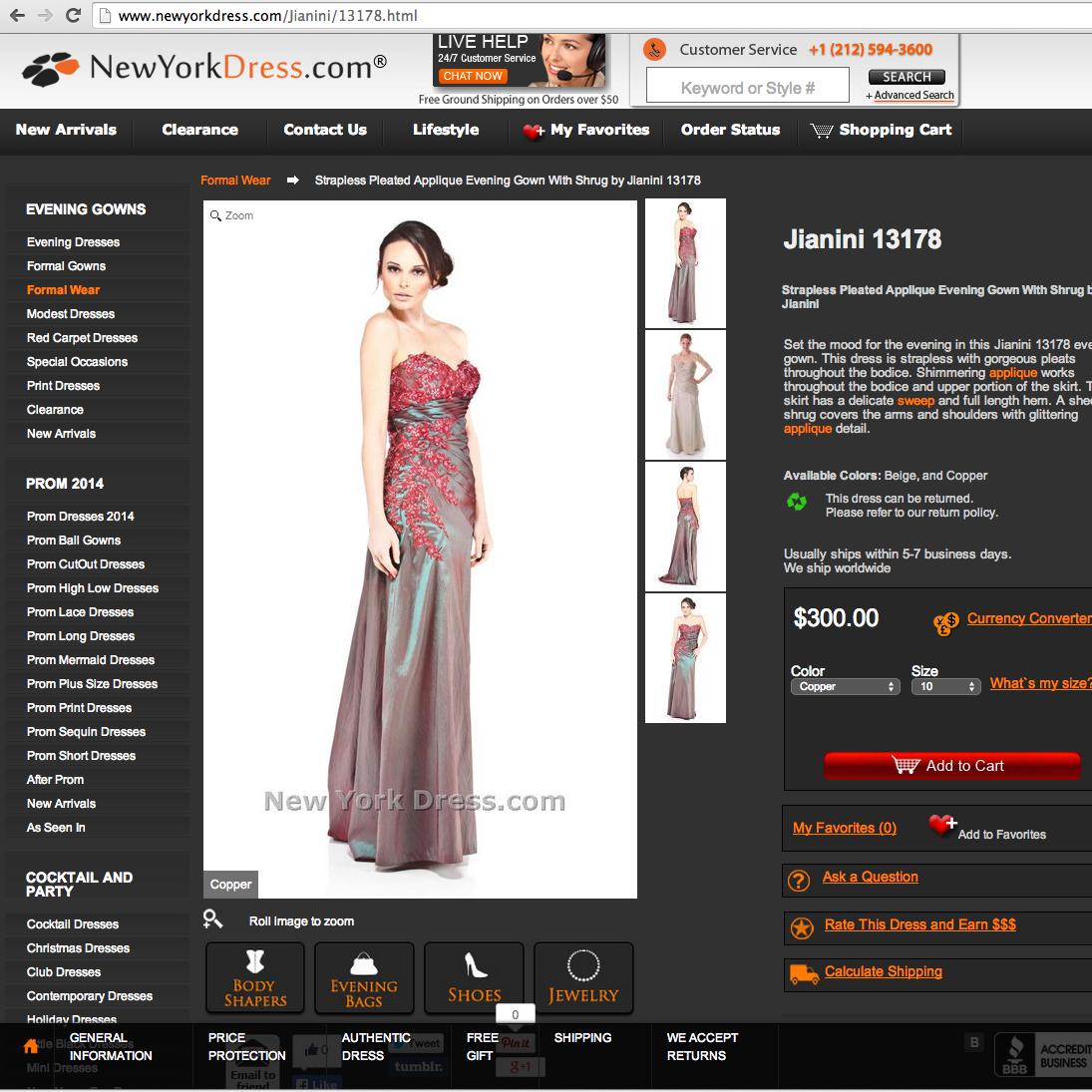 New York dress, Gown