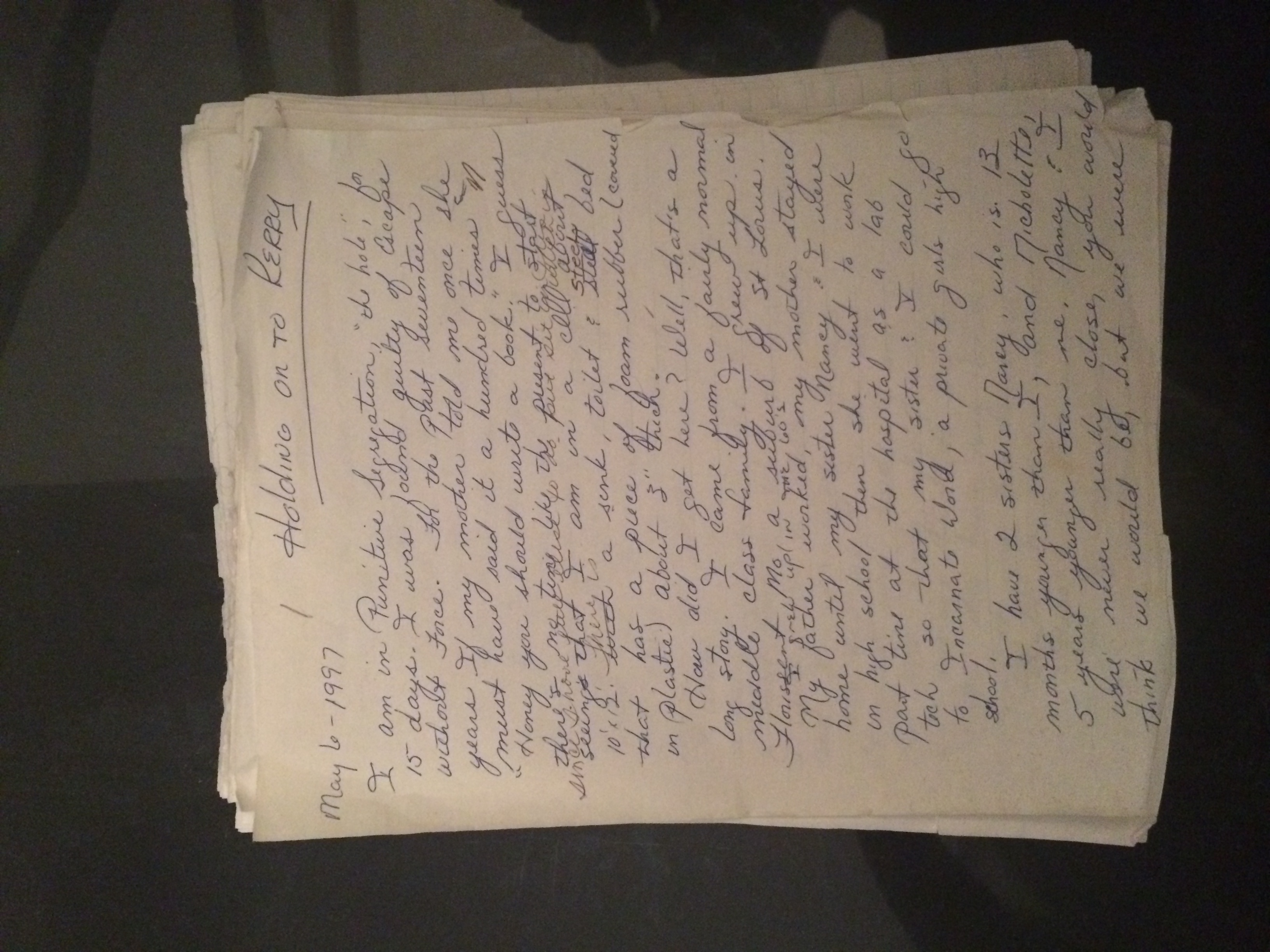 The original draft of  She Can Fl  y , written while Kerry was in solitary confinement