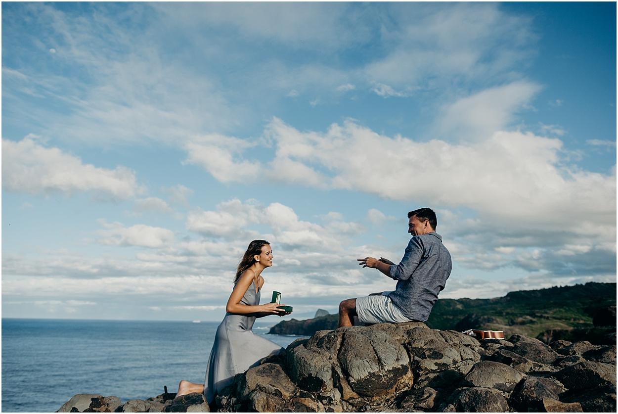 adventurous maui engagement session at nakalele point