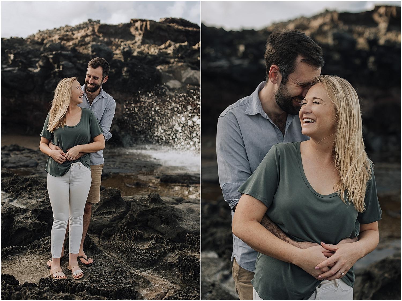 maui engagement photos at nakalele, hawaii