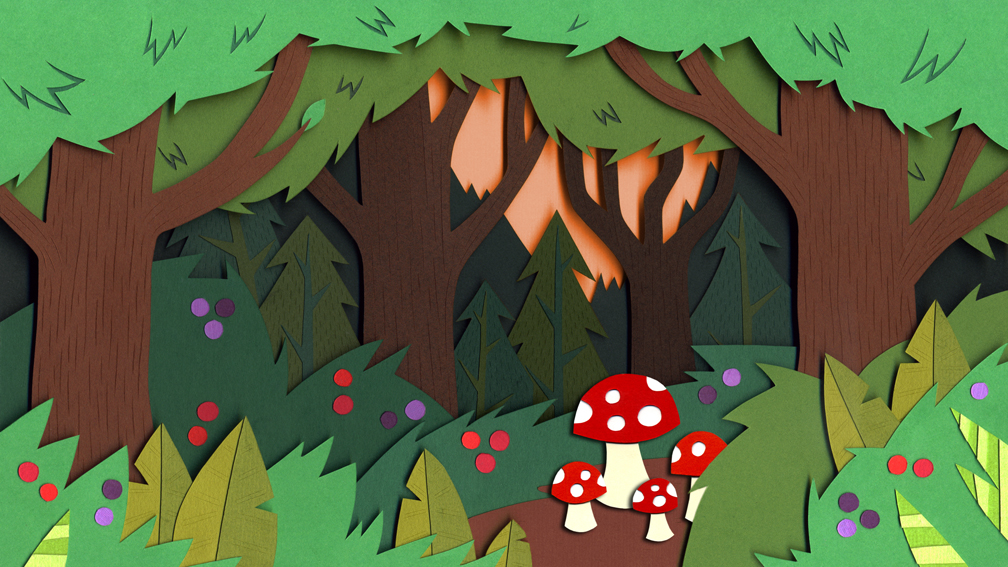 One of the backgrounds, cut into layering parts and then put together so the camera could fly through the forest.